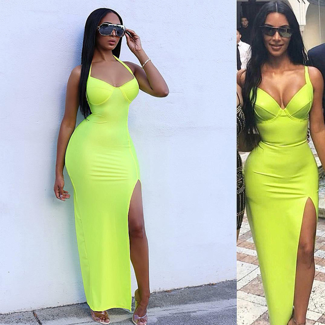 Tobinoone Kim Kardashian Summer Dress Women Sexy Backless Nightclub Party Maxi Dress Split Bodycon super bright neon outfits 1