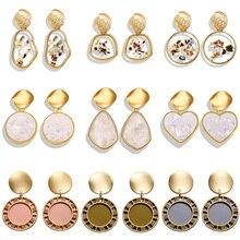 Korea Vintage Earrings Heart Round Geometry Pendant dangle drop for women girls Gold Crystal Irregular Jewelry