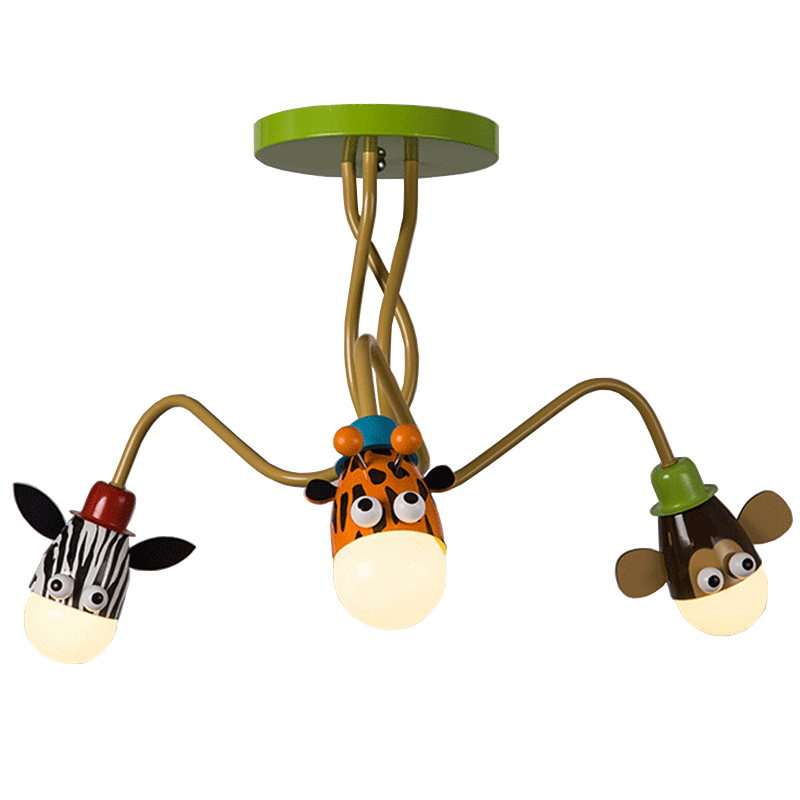 где купить Modern Kids Room boy girl bedroom ceiling lamp LED creative cartoon animal head ceiling light ,Adjustable angle long arm lamp дешево