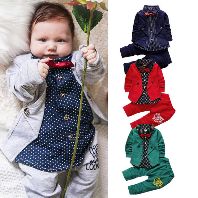 Placeholder Children Clothes Girls Formal Gentleman Suit Kids Dresses For Boys Costume Bow Toddler Set