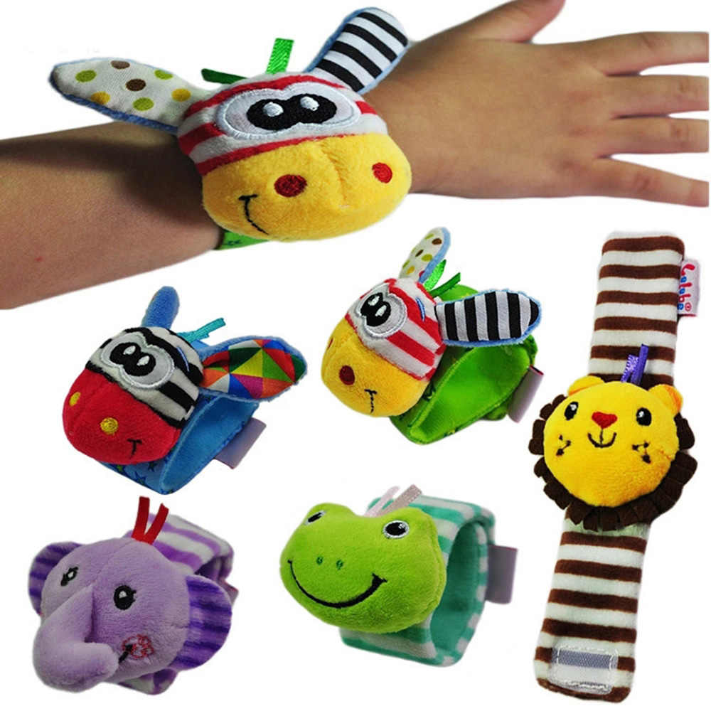 Infant Baby Rattles Toys Animal Pattern Strap Rattle Baby Foot Socks Wrist Rattles Cartoon Educational Toy Gift For Kids