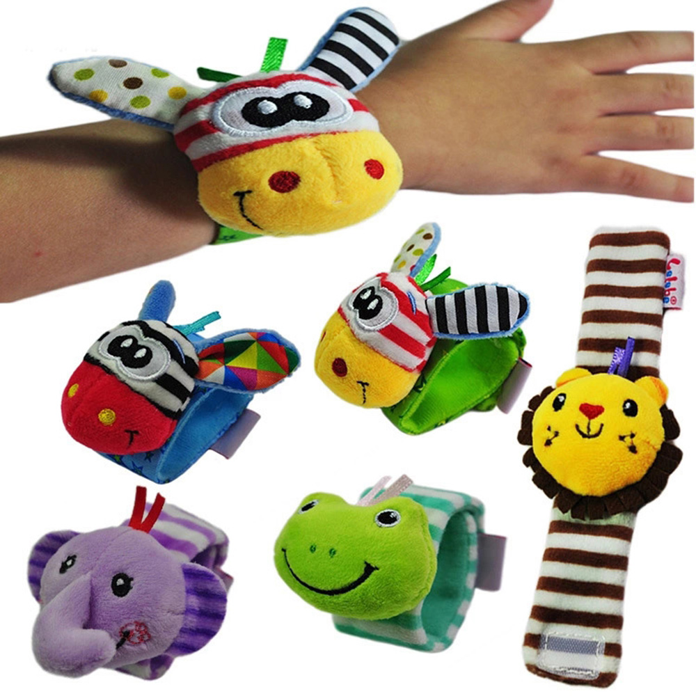 Infant Baby Rattles Toys Animal Pattern Strap Rattle Baby Foot Socks Wrist Rattles Cartoon Educational Toy Gift For Kids-in Baby Rattles & Mobiles from Toys & Hobbies