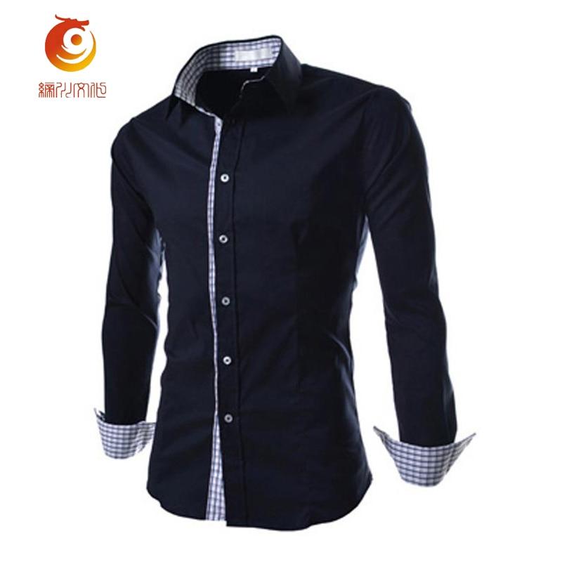 Navy blue dress shirt men shirt long sleeve turn down for Mens navy dress shirt