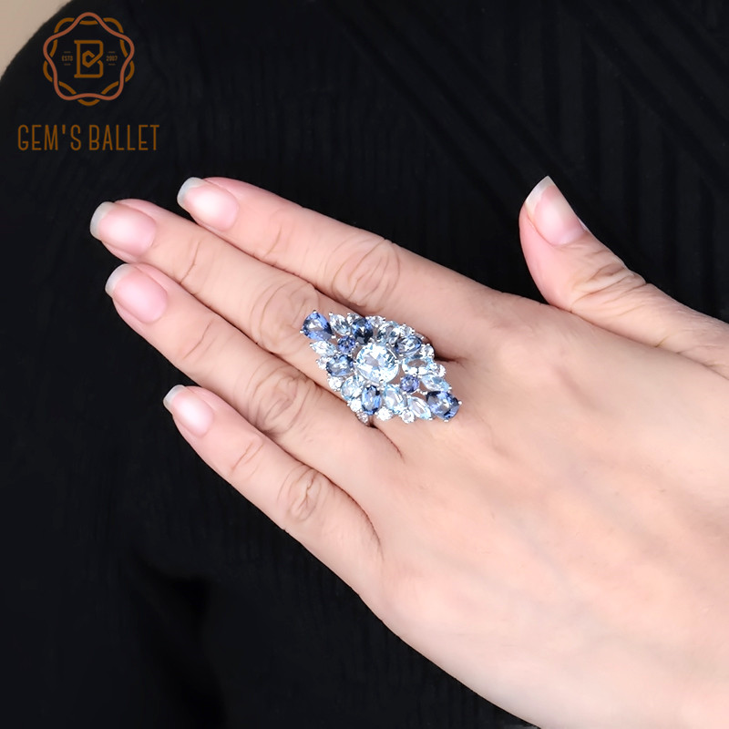 Gem's Ballet Multicolor Natural Sky Blue Topaz Mystic Quartz Cocktail Rings For Women 925 Sterling Silver Gemstone Ring Jewelry