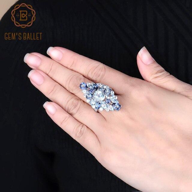 อัญมณีบัลเล่ต์ Multicolor Sky Topaz สีฟ้า Mystic ค็อกเทลค็อกเทลค็อกเทลค็อกเทลแหวนเงิน 925 แหวนพลอยเครื่องประดับ