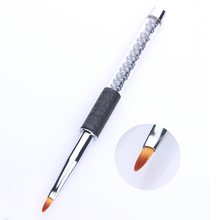 1 Pc Acrylic Carving Painting Pen 2# Drawing Brush Black Rhinestone Handle Manicure Nail Art Tool