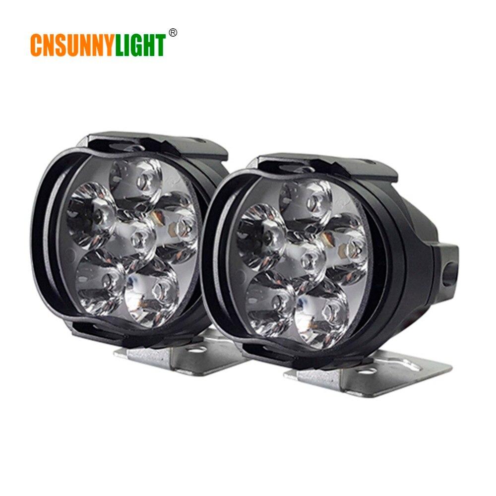 CNSUNNYLIGHT 2pcs High Power 6W Motorcycle LED Light White Headlight Fog Spot Working Light DC 12V 24V External Lighting