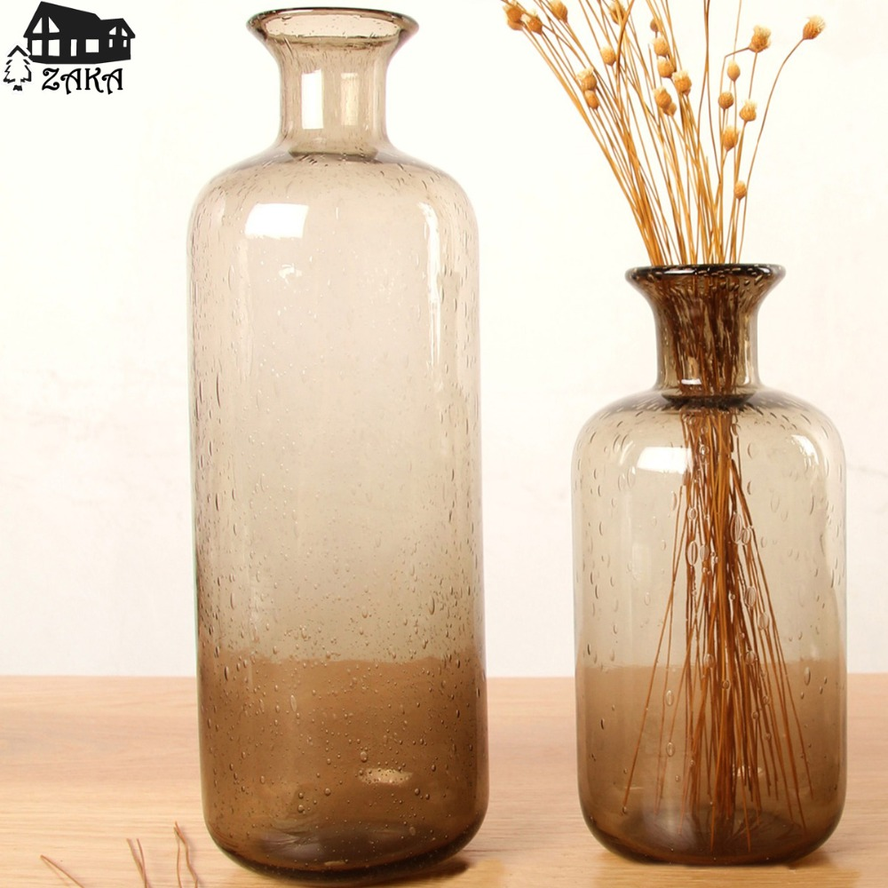 1pcs new keyamanordic marine style brown bubble glass vases hand 1pcs new keyamanordic marine style brown bubble glass vases hand blown flower vases bedroom table vase simple home decoration in vases from home garden on reviewsmspy
