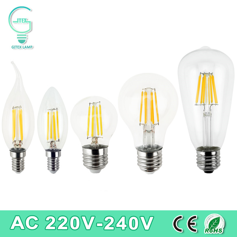 Dimmable  E27 LED Filament Light Glass Housing Bulb E14 Lamp 220V 2W 4W 6W 8W LED Filament Antique Vintage Edison Bulbs free shipping g95 edison spiral led filament bulb 4w 220v dimmable supper warm 2200k amber glass antique edison lamp bulb