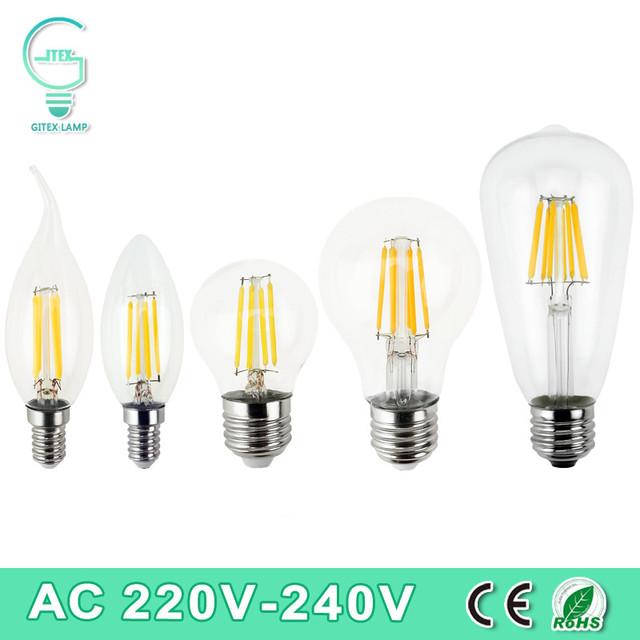 Dimmable  E27 LED Filament Light Glass Housing Bulb E14 Lamp 220V 2W 4W 6W 8W LED Filament Antique Vintage Edison Bulbs