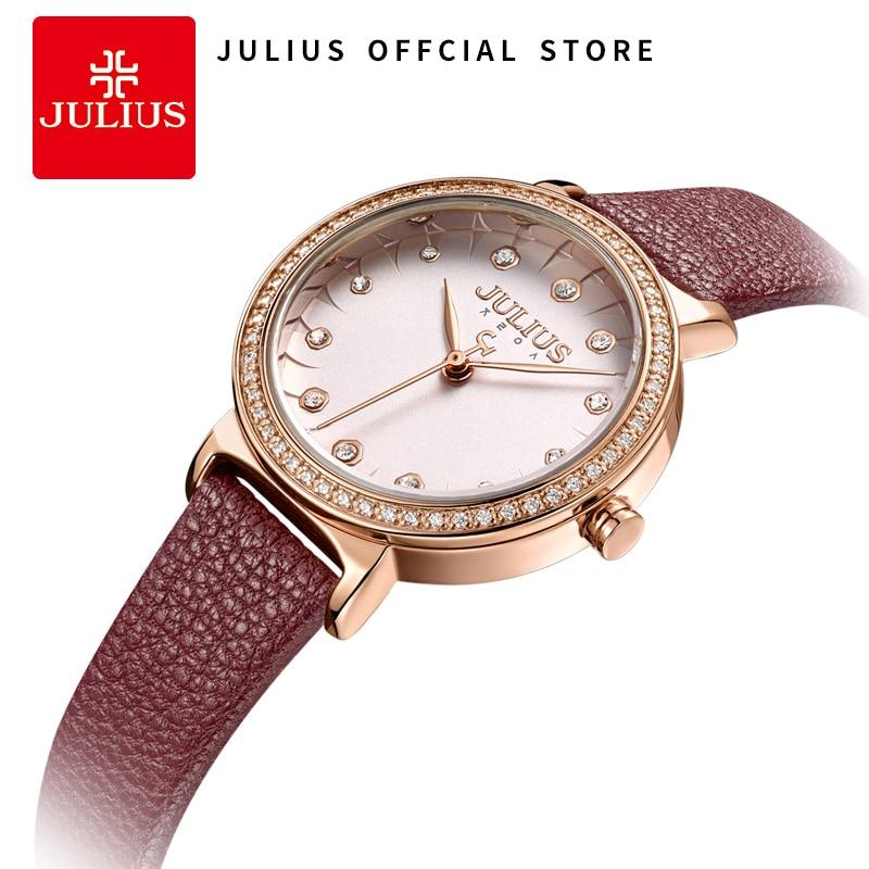 Julius 2018 Izle Kadınlar Kuvars Saatler Elmas Ile Kırmızı Deri Kayış Relogio Feminino Moda Saat Dropshipping JA-965