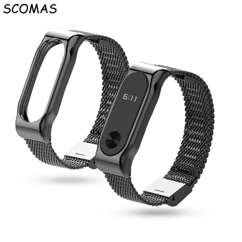 SCOMAS Metal Strap For Xiaomi Mi Band 2 magnetic Stainless Steel Bracelet For MiBand 2 Wristbands Accessories For Mi Band 2