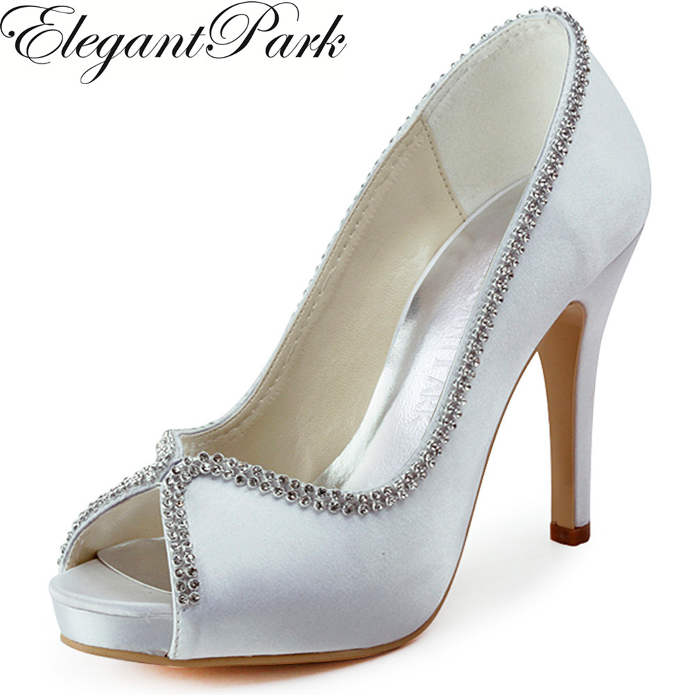 Women high heel shoes White  rhinestones pumps Satin bride bridesmaids evening prom wedding bridal shoes EP11083 Woman Shoes hp1544i white ivory peep toe women wedding pumps ankle strap crystal buckle bride bridesmaids high heel satin bridal prom shoes