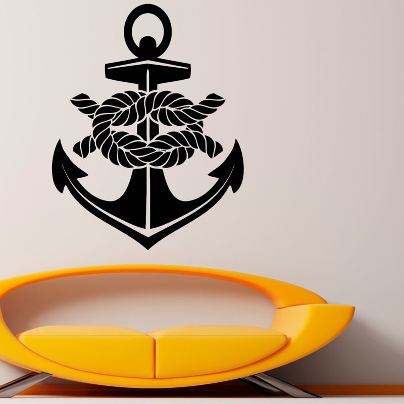 Art Design <font><b>Nautical</b></font> Anchor Wall Decal Sea Ocean Sticker Removable Vinyl Wall Stickers <font><b>Home</b></font> <font><b>Decor</b></font> Creative Mural