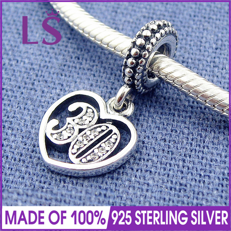LS 30 Years Of Love Dangle Charms Fit Original Beads Silver 925 Bracelet Authentic Sterling Silver Pendants Fine Jewelry Z