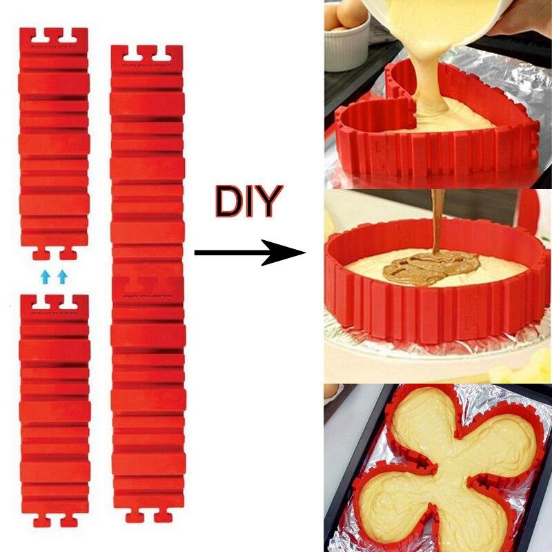 4 Pcs/set Silicone bakeware Magic Snake cake mold DIY Baking square rectangular Heart Shape Round cake mould pastry tools 212g