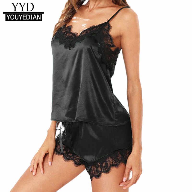 Sexy Lingerie Women Sleepwear Sleeveless Strap Nightwear Lace Trim Satin Cami Top Sets Underwear New Style NightGowns Sleepwear