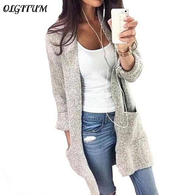 Мода 2017 г. осень-зима Для женщин с длинным рукавом Свободные Вязание кардиган свитер Для женщин S вязаный женский кардиган