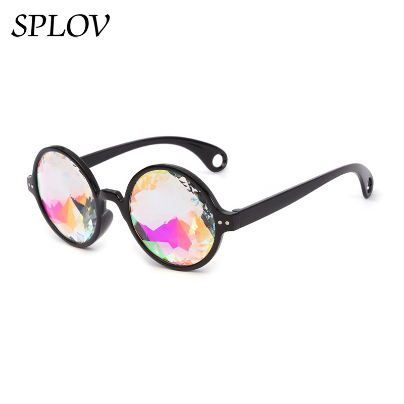 Hot Sale Round Frame Holographic Kaleidoscope Men Women Sunglasses Rave Festival Stylish Female Male Glasses Party Queen Gifts