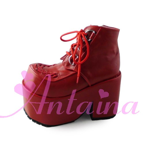 Princess sweet lolita gothic lolita shoes Lolita cos punk wedges increased women's shoes deep red 9101 gothic and lolita