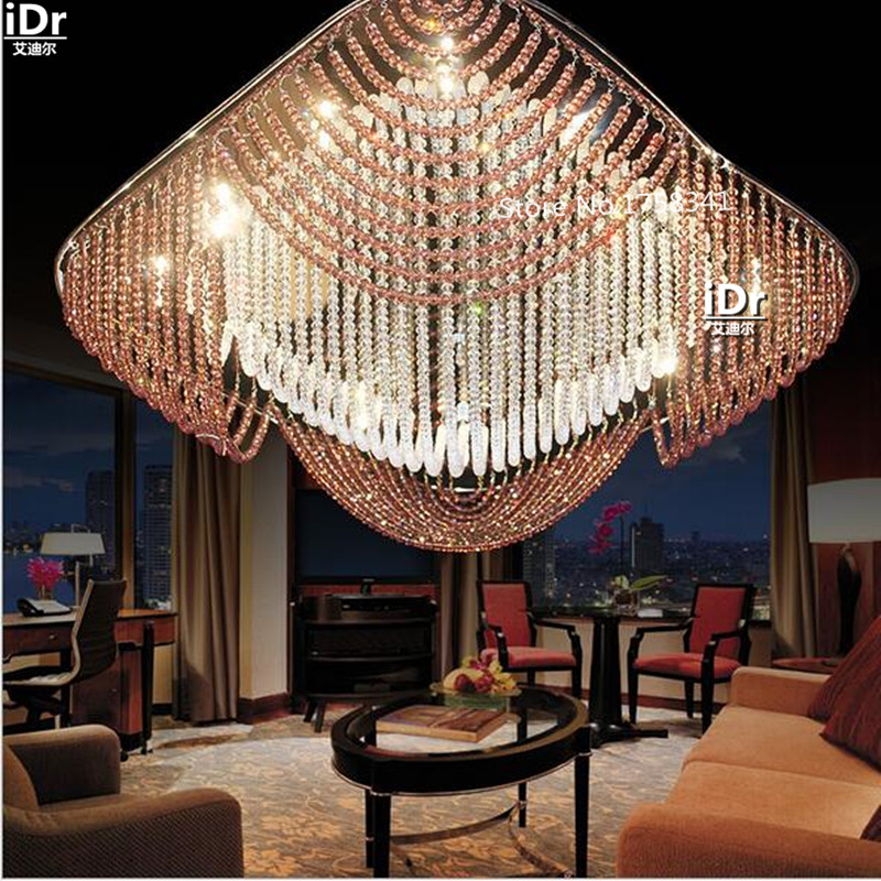 Luxury K9 Crystal Living Room Bedroom Lamp Led Lamp Factory Direct Square  Ceiling Lights Rmy 0378