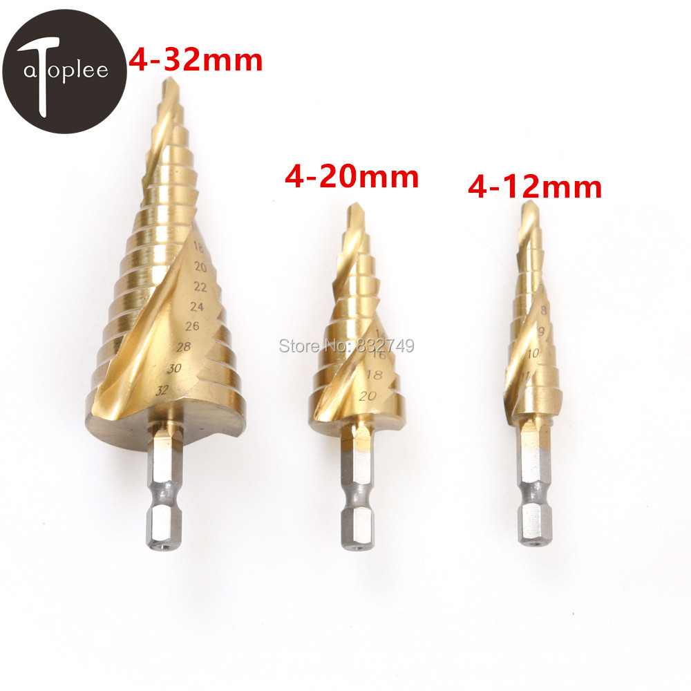 3 PCS Hex Spiral Grooved Step Drill Set Cone Titanium Coated Drill Bits Tool Set Hole Cutter 4-12 4-20 4-32mm