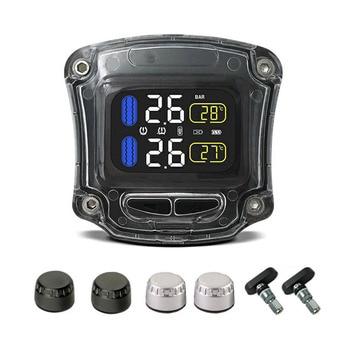Tire Pressure Monitor Sensor | M3-B Wireless Motorcycle TPMS Real Time Tire Pressure Monitoring System Universal 2 External Internal Sensors LCD Display