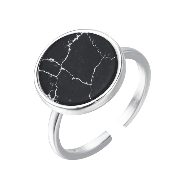 Todorova Black Natural Stone Rings 925 Silver New Fashion Round 100% S925 Solid Sterling Silver Ring for Women Men Jewelry