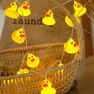 Image 1 - 10Leds/20Leds Mini Yellow Duck LED String Light Glow Indoor Outdoor Xmas Wedding Party Battery Operated LED Fairy Light
