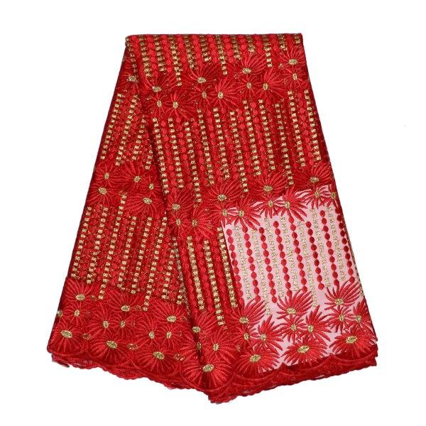 4537fa0b7e Nowa fabryka cena czerwony poliester tiul materiał tkaniny zroszony haft  Afryki koronki tkaniny do sukni ślubnej Francuski koronki 5 metrów