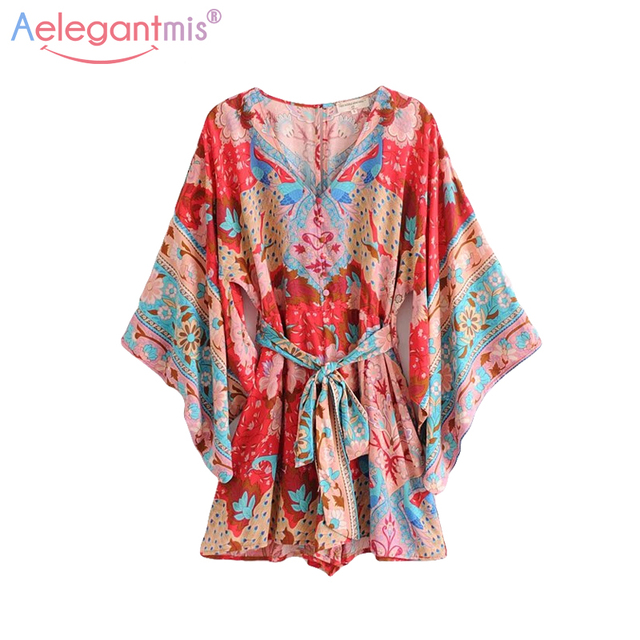 aab3fc9a7a Aelegantmis Summer Red Sexy V-Neck Jumpsuit Romper Women Hollow Out Peacock  Print Playsuit Lady