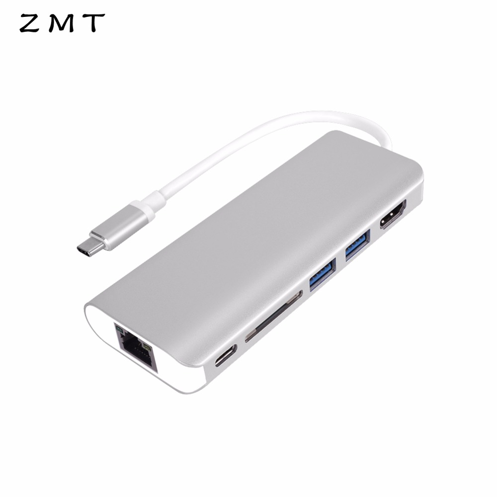Multi-Port USB C HUB Type C USB-C Type-C to HDMI 4K Dual USB3.0 Converter Card Reader Power Delivery Gigabit Ethernet Adapter 668 usb 3 1 type c card reader