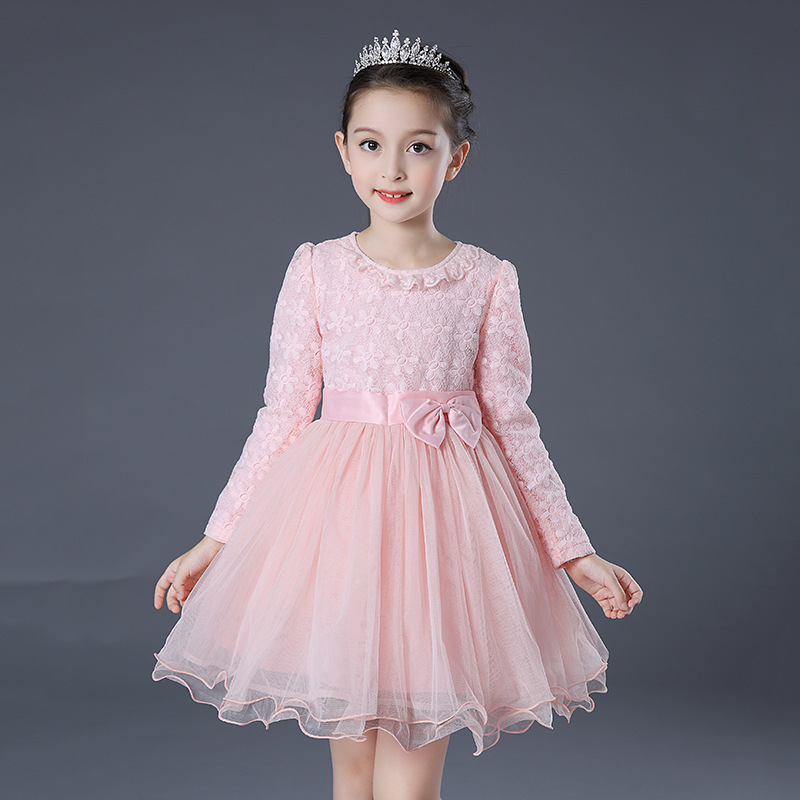Girls dress autumn new 2018 Casual wedding dress long sleeves yellow pink lace party dresses girl vestido infantil dress uoipae party dress girls 2018 autumn