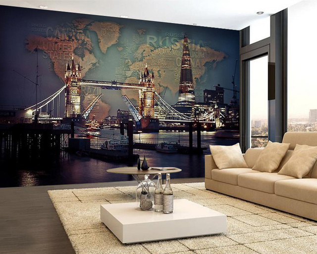 Custom modern night view wallpaper mural london tower bridge world custom modern night view wallpaper mural london tower bridge world map tv sofa bedroom living room gumiabroncs Images