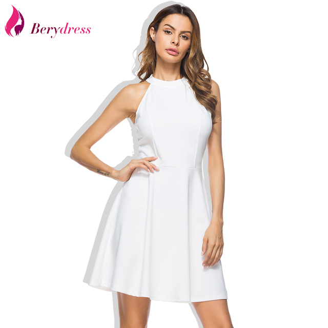 4efcac1789 Berydress Cute Women Wedding Party Dress Sexy Halter Neck Lace Straps  Backless Sleeveless Casual Short Skater Dresses Vestidos