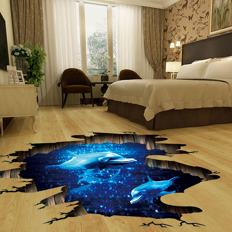 shop with crypto buy 3D Dark blue dream dolphin Floor sticker bathroom living room floor decoration mural wall stickers home decor decals wallpaper pay with bitcoin