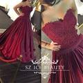 Sexy Borgonha Vestido De Noite Para As Mulheres Longo Querida Lace Apliques 2017 Robe De Soiree Puffy A Linha de Festa Formal do baile de Finalistas vestidos