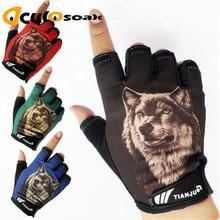 New Mens Semi-finger Wolf Pattern Tactical Gloves Half Finger Slip-resistant Driving luvas de inverno
