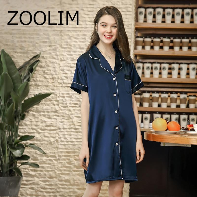 817f24c6fc Women Nightgowns Fashion Satin Sleepwear Nightshirts Short Sleeve Silk  Casual Loose Night Shirts Summer Sleepshirts Nightdress-in Nightgowns    Sleepshirts ...