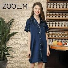 421fecbf58e Women Nightgowns Fashion Satin Sleepwear Nightshirts Short Sleeve Silk  Casual Loose Night Shirts Summer Sleepshirts Nightdress
