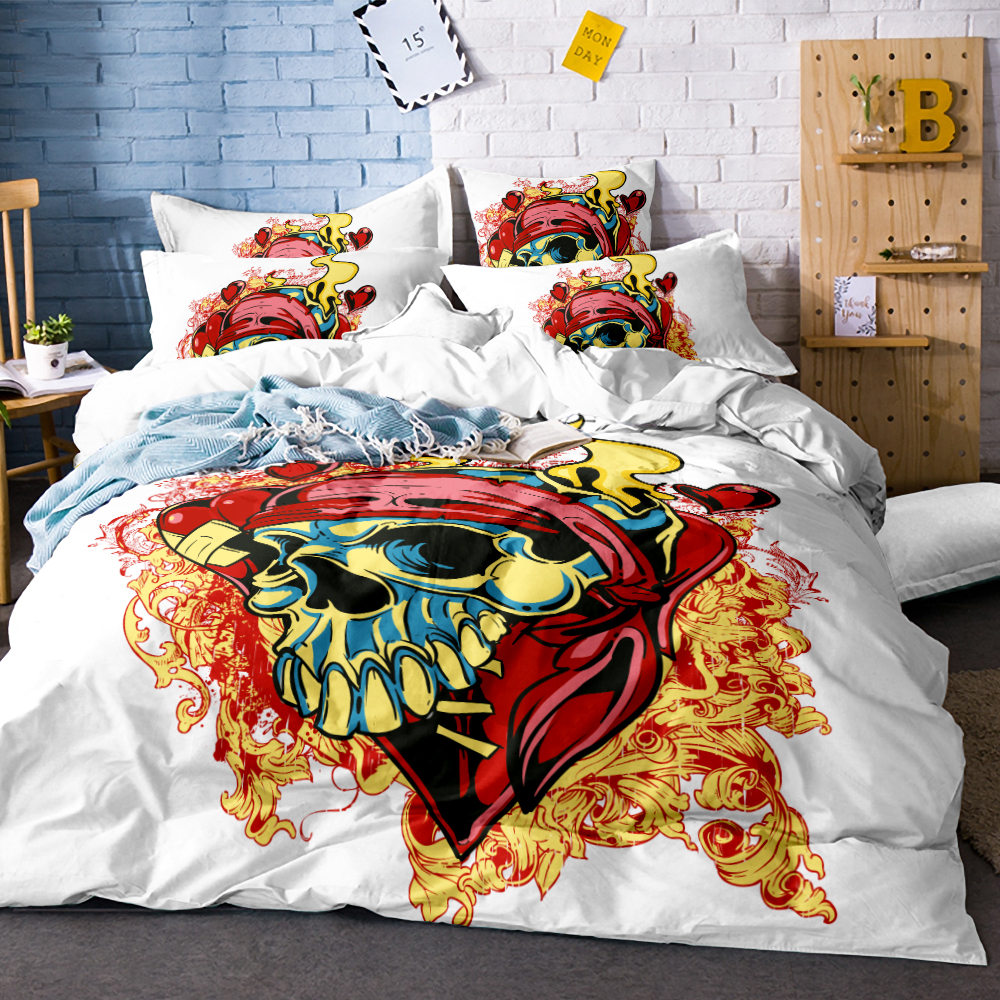 Rosebud Pattern Personality Skull Duvet Cover Set 3pcs Splash Watercolor Bedding Queen Colorful Home Textiles