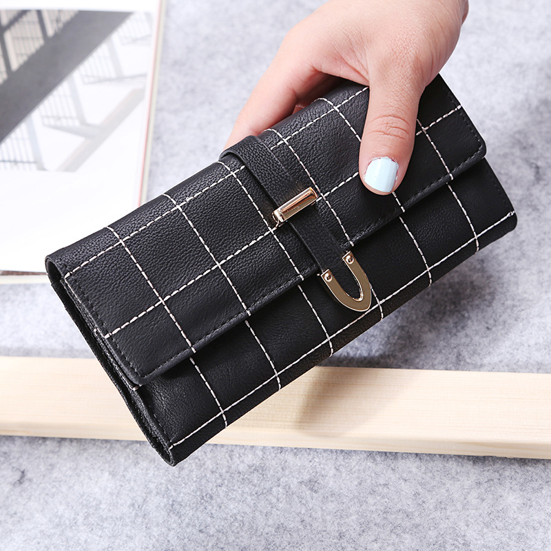 PACGOTH PU Leather Scrub lattice Plaid Stitching women Long Clutch Wallet female money bag coin purse hasp fold bag coin porket japanese anime attack on titan rivaille ackerman levi cosplay women long wallet pu leather women kawaii pink clutch coin purse