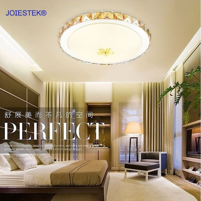 Champagne Color Crystal Luxury Modern LED Ceiling Light With 8W 16W For  Bedroom Balcony Study
