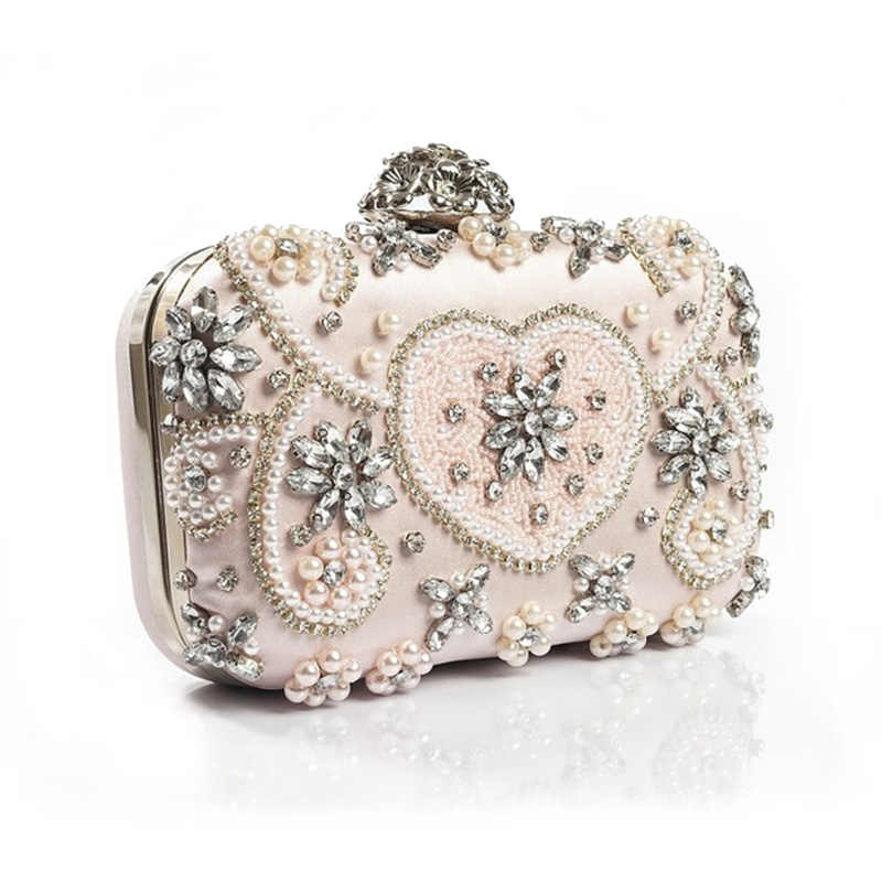 586d3a99111 Luxury Crystal Evening Bag Handmade Style Rhinestones Pearl Women Evening  Bags Vintage Satin Lady Party Wedding Clutches Purses