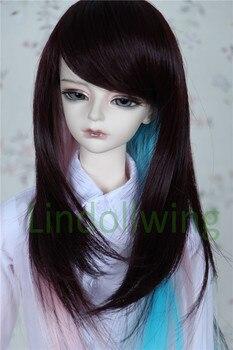 1/3 BJD Wig Pullip Dal DD SD LUT Dollfie Doll Wig 8-9 inch Long Hair Brown Pink blue