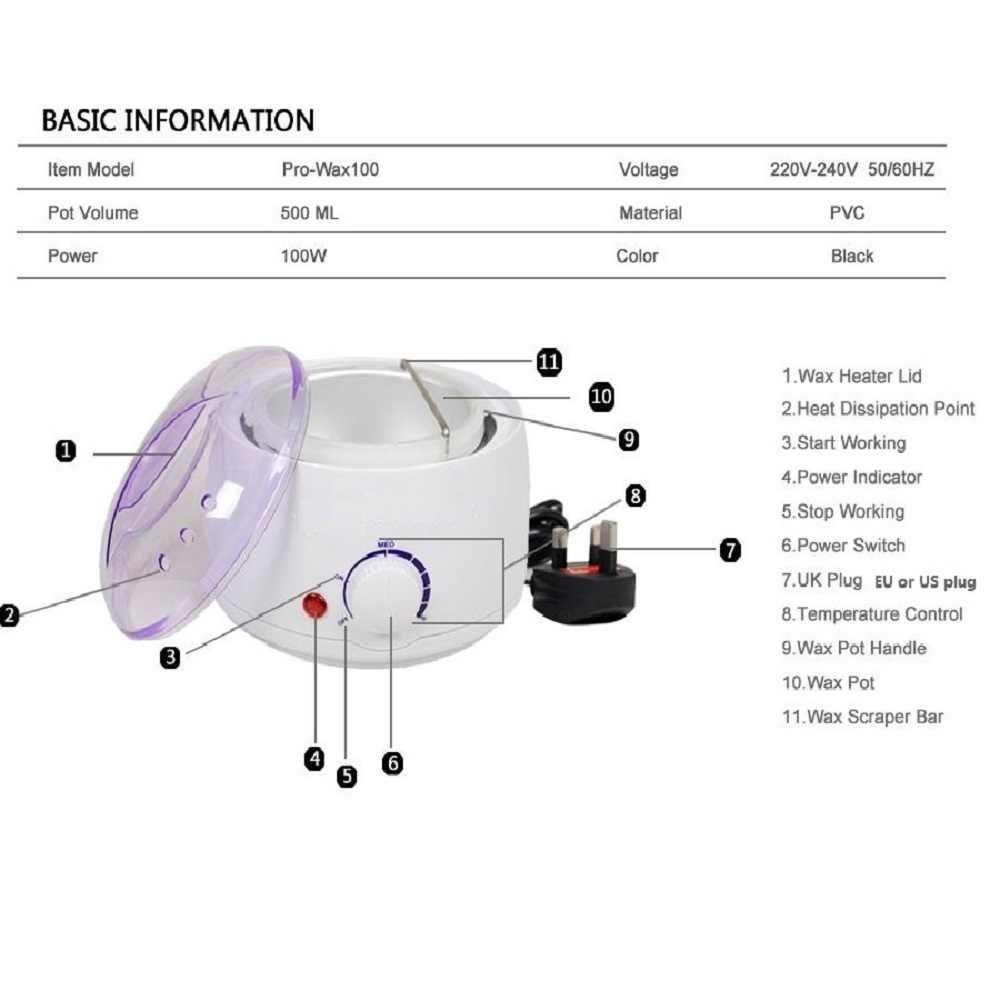 Balmumu ısıtıcı Tüy Dökücü Ağda Kiti-500 ML ağda ısıtıcı Pot, 250g Balmumu Fasulye, 10 ahşap Spatula ve 50 Kaldırma Şerit Epilasyon Için
