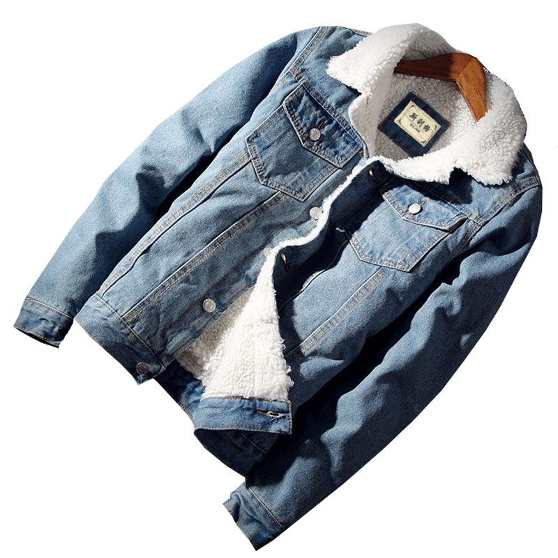 2019 Winter Men's Jacket Trendy Warm Fleece Denim Jacket  Fashion Mens Jean Jacket Outwear Male Cowboy slim Coat Asia size 4XL
