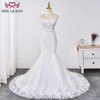 Gorgeous Appliques Lace Mermaid Wedding Dress Strapless Sashes with Bow Simple Elegant Mermaid Bride Dress WX0031 - DISCOUNT ITEM  28 OFF Weddings & Events
