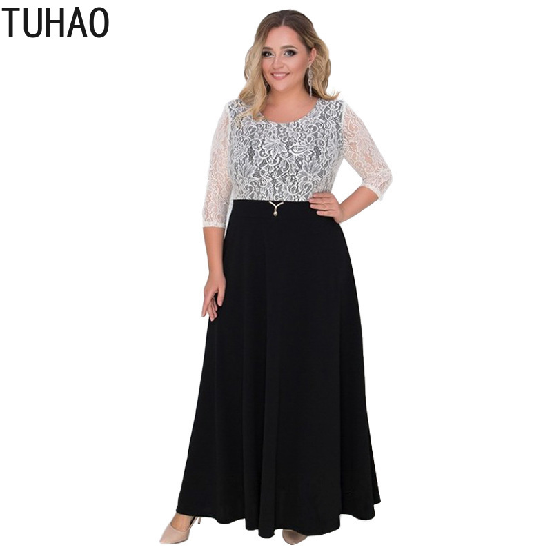 092aa22fe35 TUHAO 2019 Spring Summer Women Lace Party Dresses Plus Size 6xl 5xl 4xl  Sexy Club Elegant