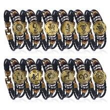 Подарок на день рождения панк Знаки зодиака Овен лев браслет созвездия Шарм Мужские браслеты Дева рыбы кулон для женщин Прямая поставка